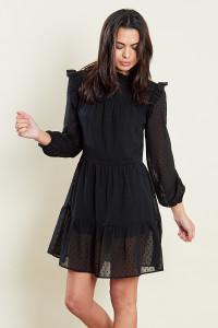 Black Multi Tiered Smock Tiered Smock Mini Dress With Ruffles