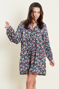Ditsy Print Smock Mini Dress