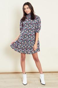 High Neck Ditsy Print Swing Mini Dress