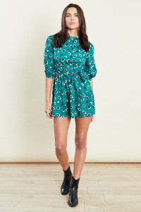 Green Abstract Animal Print Mini Dress