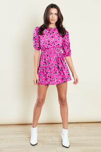 Pink Abstract Animal Print Mini Dress