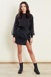 Black Sweatshirt With Organza Pearl Sleeve