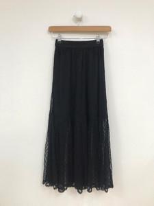 Black Spot Mesh Layered Midaxi Skirt