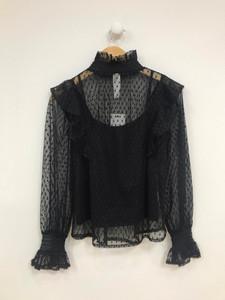 Black High Shirred Neck Mesh Top