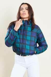 Navy Padded Jacket In Check