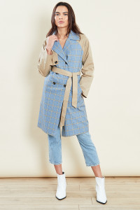 Beige Belted Trench Coat With Check Panels
