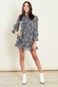 Star Print Long Sleeves Tiered Ruffle Mini Skater Dress