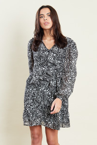 Star Print Ruffle Detail Mini Smock Dress