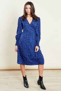 Blue Puff Sleeves Midi Wrap Dress