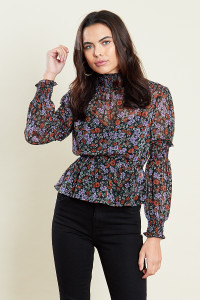 High Shirred Neck Peplum Top