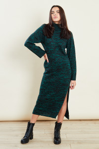 Green Roll Neck Marled Dress