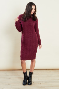 Red Roll Neck Cable Jumper Dress
