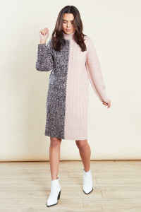 Pink Roll Neck Mix Cable Jumper Dress