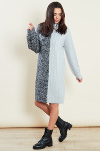 Grey Roll Neck Mix Cable Jumper Dress