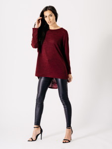 Jersey Long Sleeves Dip Hem Top in Wine