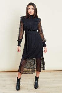 Black High Neck Mesh Midi Dress With Shirring