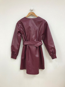 Burgundy Button Through PU Dress