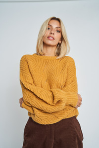 Yellow Delaney Balloon Sleeve Cable Knit