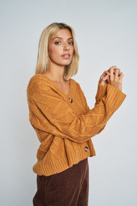 Evadine Cable Knit Design In Slouchy  Cardigan