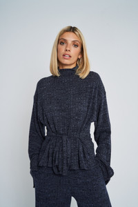 Fontaine Ribbed Jersey Funnel Neck Top With Belted Waist