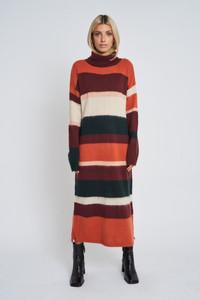 Orange Ember Knitted Stripe Dress