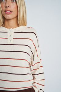 Keegan Soft Knit Top With Collar And Half Button Placket