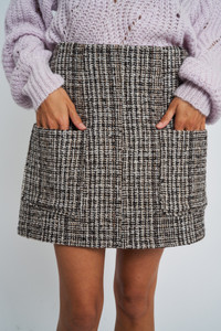 Zeta Tweeed Check In Mini Skirt Shape With Patch Packets