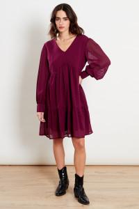 Burgundy V Neck Smock Mini Dress