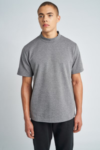 Grey Adrian High Neck Short Sleeve T-Shirt