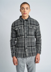 Black Jaxon Brushed Wool Check Overshirt