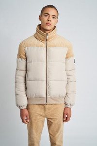 Beige Noah Puffer Jacket With Corduroy Trims