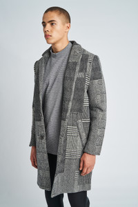 Stanley Patchwork Wool Check Overcoat