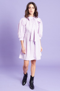 Lilac Puff Sleeves Pussy Bow Smock Mini Dress