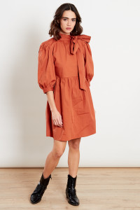 Rust Puff Sleeves Pussy Bow Smock Mini Dress