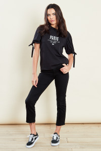 Black Puff Sleeves Eyelet T-Shirt