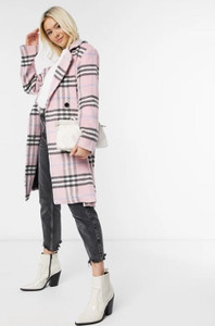 Pink longline tailored coat in pastel check