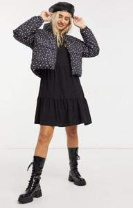 Black padded jacket in ditsy heart print