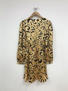 Animal Print Wrap Long Sleeves Frill Skater Dress