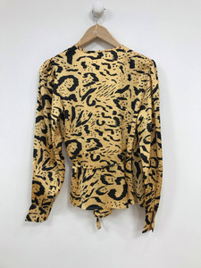Satin Animal Print Wrap Frill Long Sleeves Top