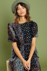 Floral Print Midi Tiered Ruffle Detail Smock Dress