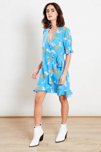 Blue Ruffle Wrap Skirt Puff Sleeves Mini Dress
