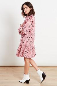 Pink Pintuck Detail Dropped Hem Shift Mini Dress