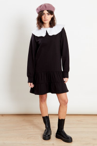 Black Tiered Sweat Dress With Contrast Frill Collar