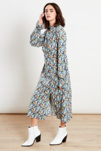 Blue Curved Empire Seam High Neck Midi Dress