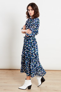 Blue Shirred Waist Tiered Midi Dress