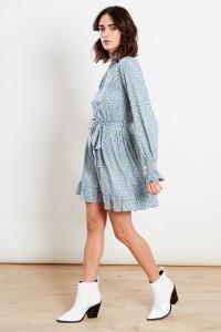 Blue Shirred High Neck & Cuff Ruffle Hem Long Sleeve Belted Mini Dress