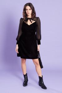 Black Velvet Tie Neck Skater Mini Dress