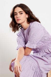 Lilac Shirred Frill Hem Midi Dress