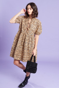Brown Mini Smock Dress With Pleat detailing