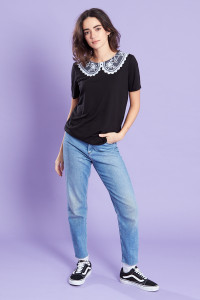 Black With White Lace Collar T-Shirt